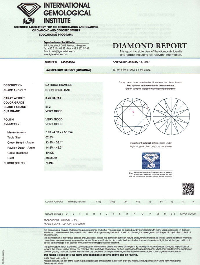 Foto 9, Brillant 0,26ct in Top Crystal SI mit Expertise von IGI, D6762
