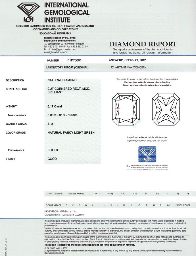Foto 9, Fancy Diamant Rectangular Light Green 0,17Carat mit IGI, D6766