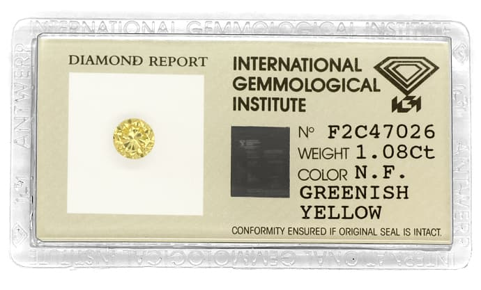 Foto 1 - 1,08ct Brillant Spitzen Fancy Greenish Yellow IGI, D6796