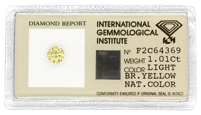 Foto 1, Brillant 1,01ct Super Farbe Brown Yellow IGI Zertifikat, D6797