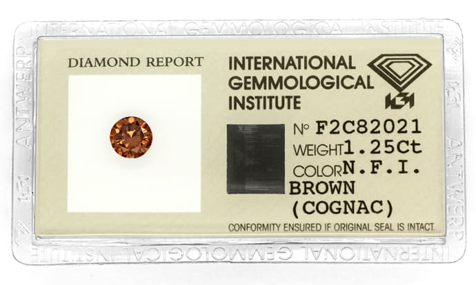 Foto 1, Brilliant 1,25ct sensationell intensiv Fancy Cognac IGI, D6798