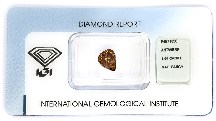 Foto 1, Diamant 1,64ct Natural Fancy Orangy Brown IGI Expertise, D6818