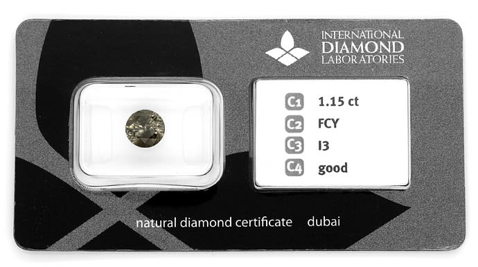 Foto 1, Einkaräter Brillant 1,15ct Fancy Grey IDL Zertifikat, D6838