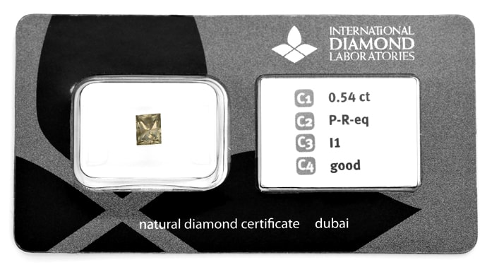 Foto 1, Princess Cut Diamant 0,54ct IDL Zertifikat, D6839