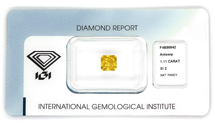 Foto 1, Diamant 1,11ct Fancy Deep Orange Square Cut IGI, D6843