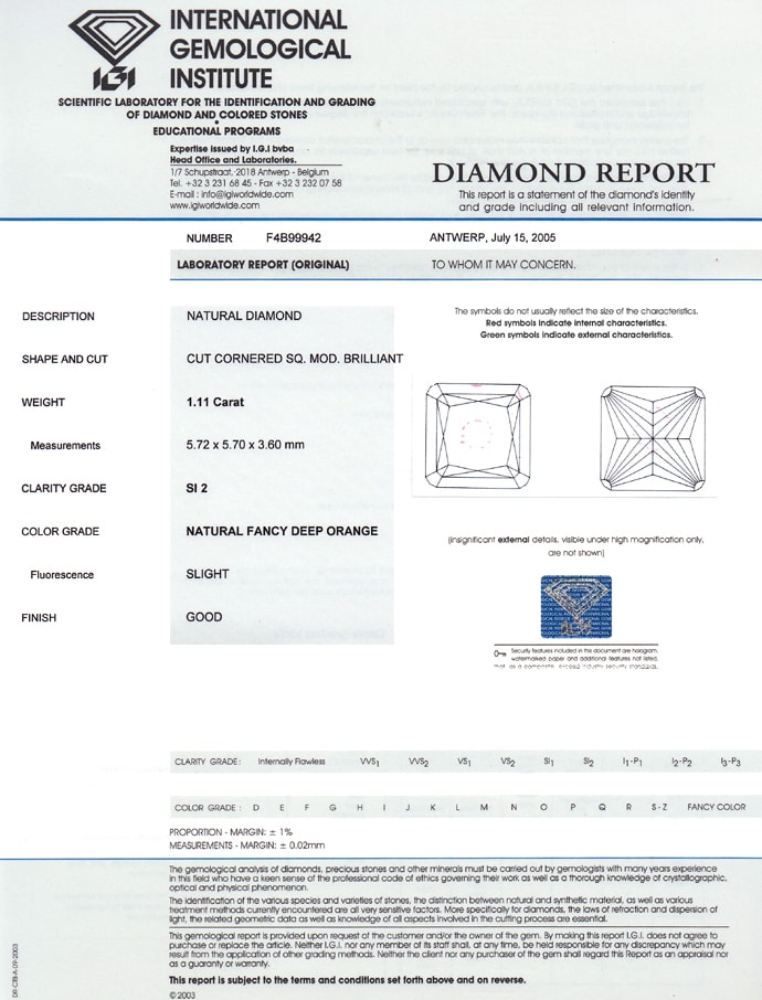 Foto 9 - Diamant 1,11ct Fancy Deep Orange Square Cut IGI, D6843