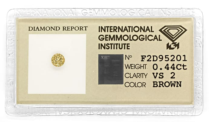 Foto 1, Brillant 0,44ct Natural Brown Goldbraun VS IGI, D6844
