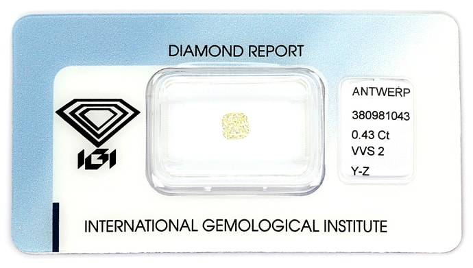 Foto 1, 0,43ct Square Cushion Brillant Yellow VVS IGI, D6848