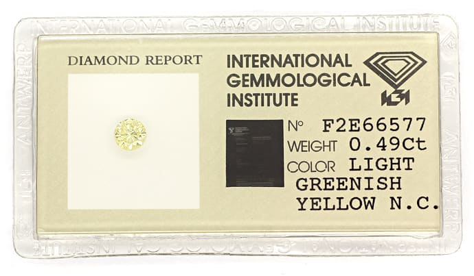 Foto 1, Brillant 0,49ct Greenish Yellow IGI Zertifikat, D6866