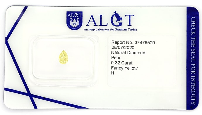 Foto 1 - Tropfen Diamant 0,32 Carat in Fancy Yellow, D6908