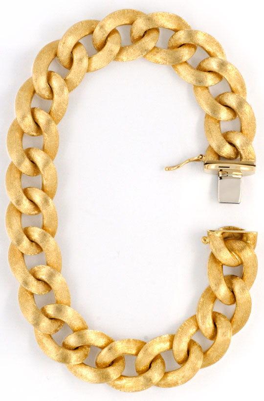 Foto 2, Flaches Panzerarmband handgraviert, Gelbgold 18K Luxus!, K2005