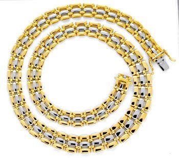 Foto 1, Goldkollier Verlauf, Gelbgold Weissgold 750 Luxus! Neu!, K2007