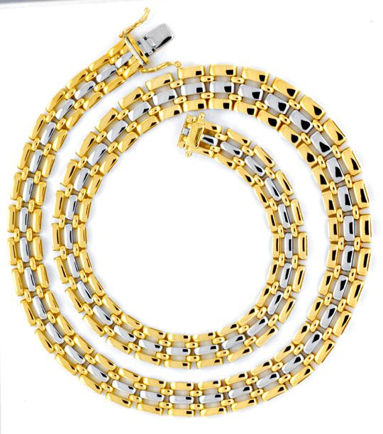 Foto 2, Goldkollier Verlauf, Gelbgold Weissgold 750 Luxus! Neu!, K2007