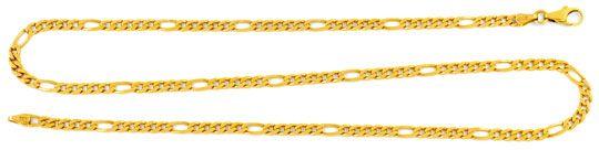 Foto 1, Figaro Kette massiv Gelbgold 14K/585 Karabiner Shop Neu, K2011