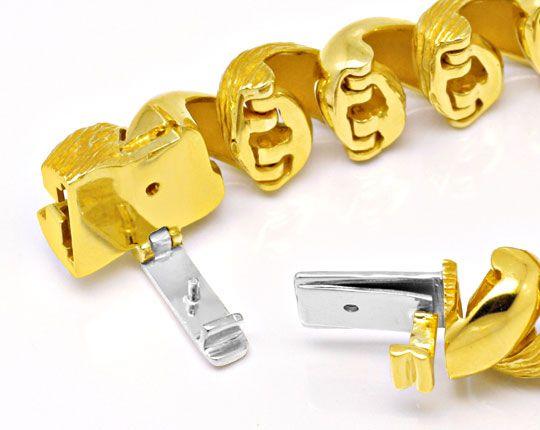 Foto 3, Gelbgold Armband gewölbt massiv, Scharniere, 18K Luxus!, K2020