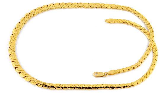 Foto 1, Designer Goldkette Gold Kollier 18K Gelbgold Luxus! Neu, K2023