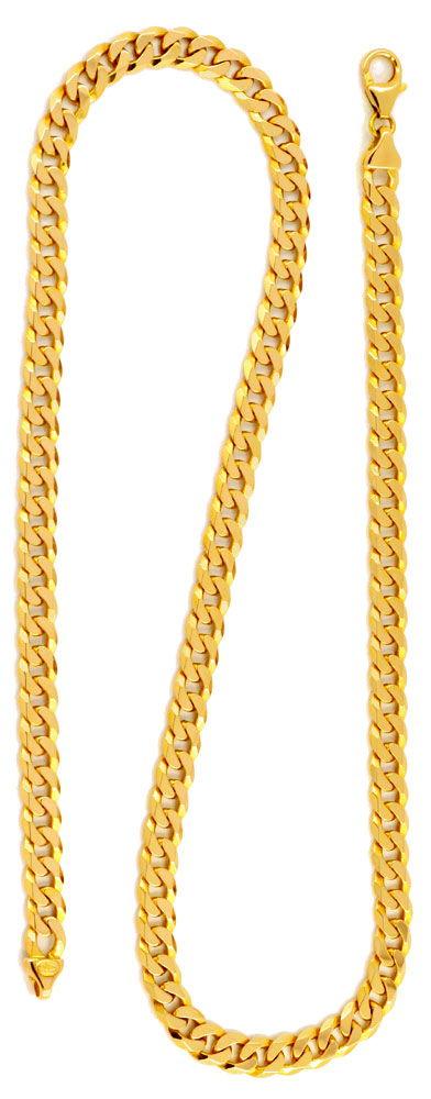Foto 3, Massive Flachpanzer Goldkette, 14K Gelbgold Luxus! Neu!, K2024