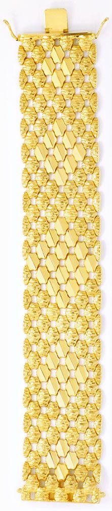 Foto 4, Wunderschönes breites Gold Armband, 69G 18K Luxus! Neu!, K2026