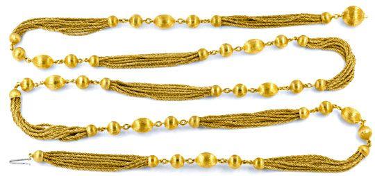 Foto 1, Goldkette Gravierte Kugeln, 10 Flechtketten 18K Schmuck, K2033