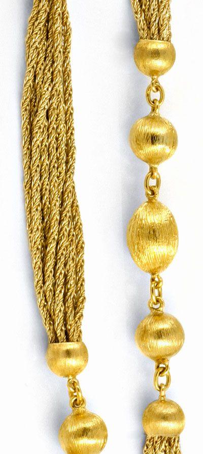 Foto 2, Goldkette Gravierte Kugeln, 10 Flechtketten 18K Schmuck, K2033