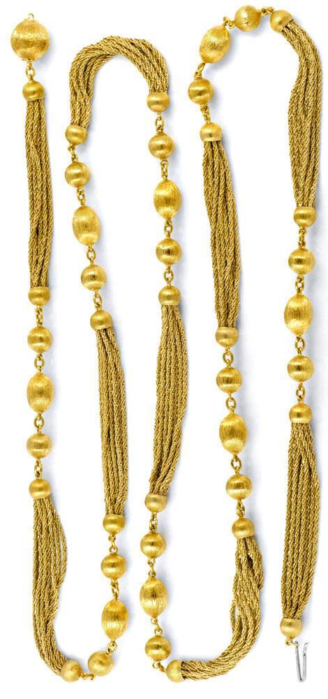 Foto 3, Goldkette Gravierte Kugeln, 10 Flechtketten 18K Schmuck, K2033