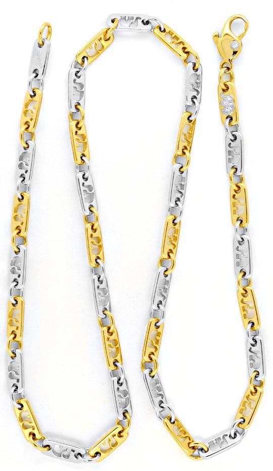 Foto 3, Massive Kette, Diamanten, Gelbgold Weissgold 18K Luxus!, K2034