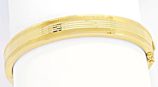 Foto 1, Armreif Gelbgold, Diamantschnitt Muster, 14K/585 Luxus!, K2038