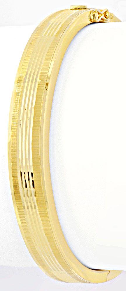 Foto 2, Armreif Gelbgold, Diamantschnitt Muster, 14K/585 Luxus!, K2038