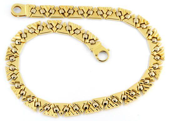 Foto 1, Designer Kollier Dreiecke Gelbgold Weissgold Luxus! Neu, K2040