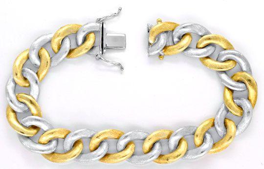 Foto 1, Flaches Panzerarmband, massiv Gelbgold Weissgold Luxus!, K2044