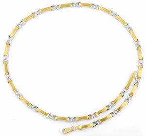 Foto 1, Kollier Plättchen Steigbügel, Gelbgold Weissgold Luxus!, K2050
