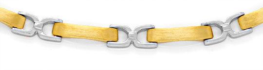 Foto 3, Kollier Plättchen Steigbügel, Gelbgold Weissgold Luxus!, K2050