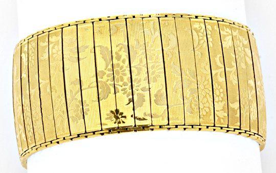 Foto 1, Sehr altes Designer Goldarmband Floral Gemustert Luxus!, K2052