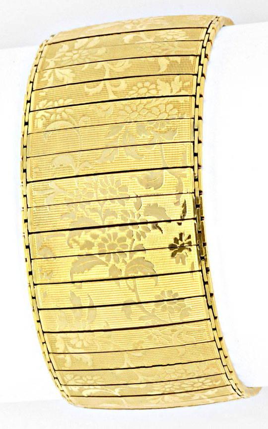 Foto 4, Sehr altes Designer Goldarmband Floral Gemustert Luxus!, K2052