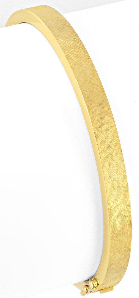 Foto 2, Armreif Gelbgold Gravur Satinier Muster 585 Luxus! Neu!, K2053