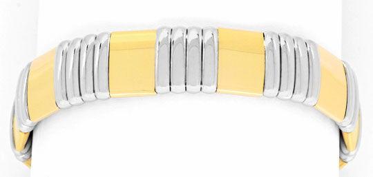 Foto 1, Designer Armspange Flexibler Armreif 18K Bicolor Luxus!, K2059
