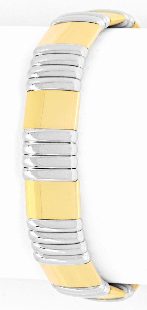 Foto 2, Designer Armspange Flexibler Armreif 18K Bicolor Luxus!, K2059