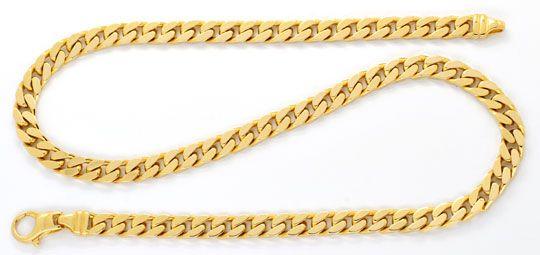 Foto 1, Massive Flachpanzer-Goldkette, Gelbgold 14K 50cm Luxus!, K2060