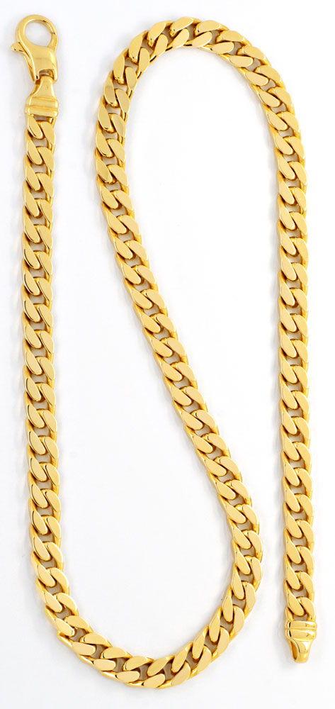 Foto 2, Massive Flachpanzer Goldkette, Gelbgold 14K 50cm Luxus!, K2060