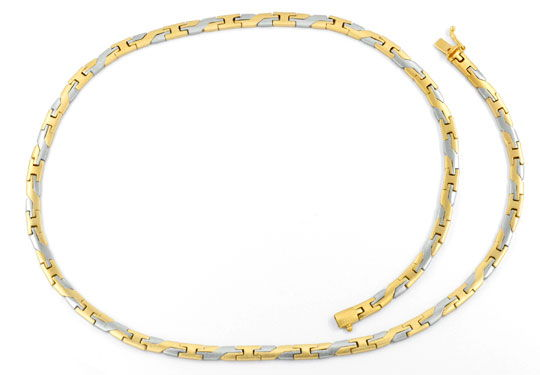 Foto 1, Massives Gelbgold Weissgold Designer Goldkollier Luxus!, K2064