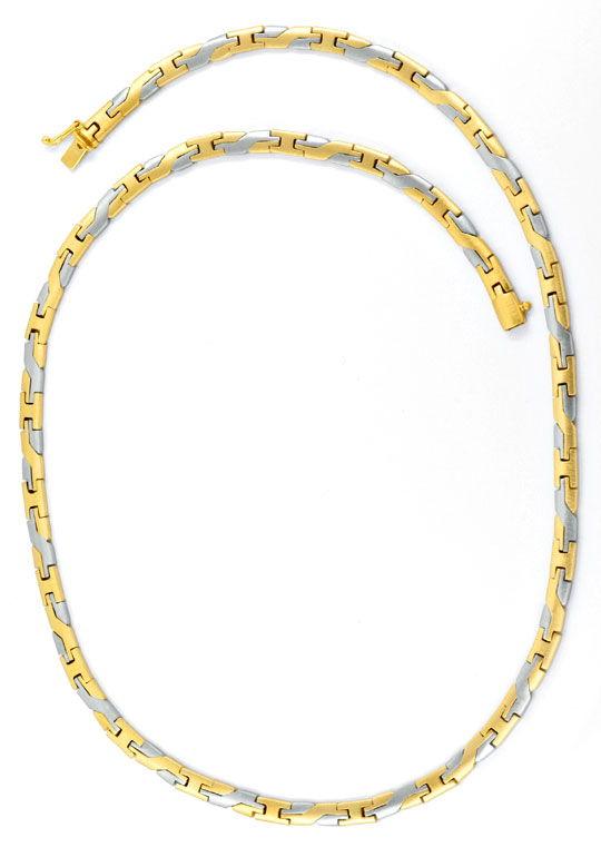 Foto 3, Massives Gelbgold Weissgold Designer Goldkollier Luxus!, K2064