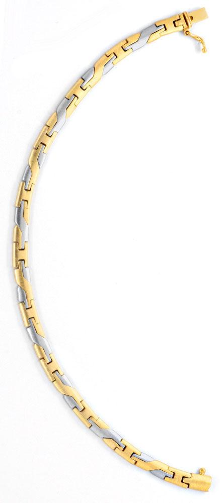 Foto 3, Design Armband Gelbgold Weissgold massiv 14K/585 Luxus!, K2065