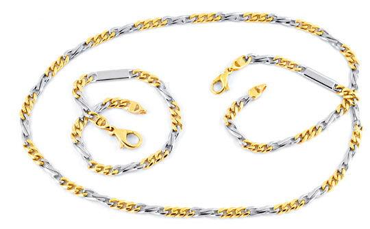 Foto 1, Goldkette und Gold Armband massiv Gelb Weissgold Luxus!, K2067
