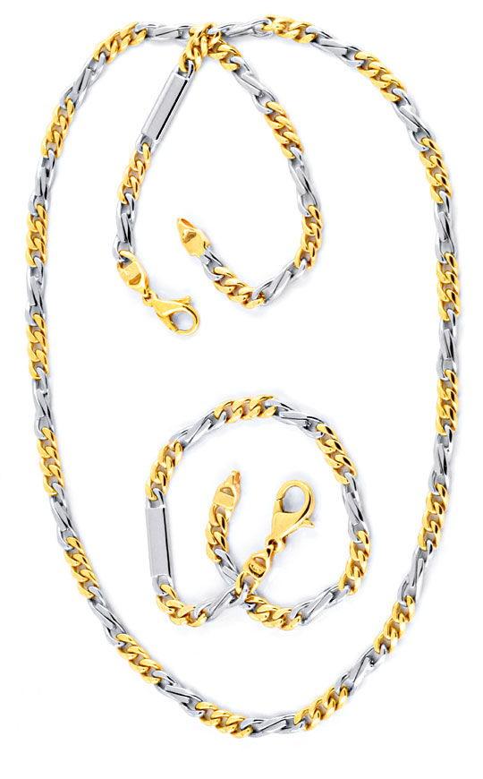 Foto 3, Goldkette und Gold Armband massiv Gelb Weissgold Luxus!, K2067