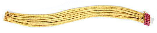 Foto 1, Goldarmband 9 Reihen, Schloss 18 Rubine 18K Gold Luxus!, K2068