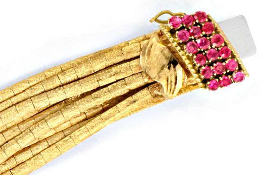 Foto 2, Goldarmband 9 Reihen, Schloss 18 Rubine 18K Gold Luxus!, K2068