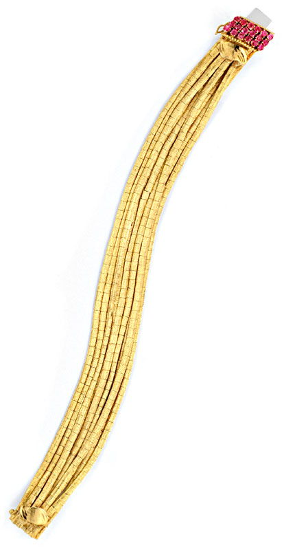 Foto 3, Goldarmband 9 Reihen, Schloss 18 Rubine 18K Gold Luxus!, K2068