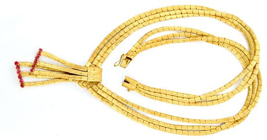 Foto 1, Goldkollier, Schloss 12 Rubine, Gold Collier 18K Luxus!, K2069