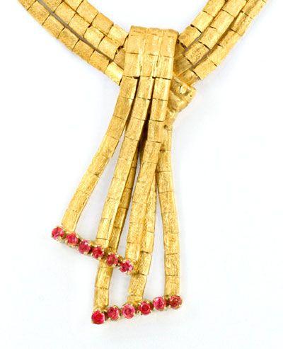 Foto 2, Goldkollier, Schloss 12 Rubine, Gold Collier 18K Luxus!, K2069