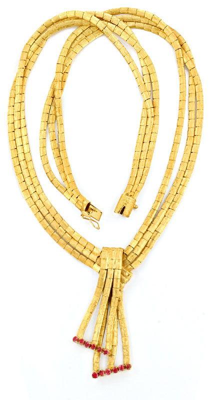 Foto 3, Goldkollier, Schloss 12 Rubine, Gold Collier 18K Luxus!, K2069